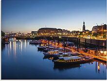 Artland Glasbild Hamburg Hafen Panorama mit