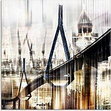 Artland Glasbild Hamburg Skyline Collage III,