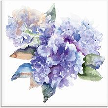 Artland Glasbild Hortensien 50x50 cm blau