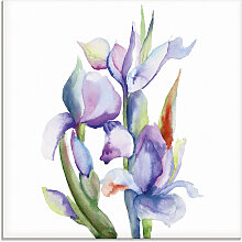 Artland Glasbild Iris 50x50 cm blau Glasbilder