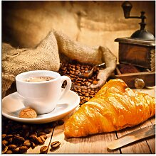Artland Glasbild Kaffeetasse mit Croissant,