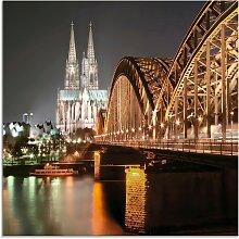 Artland Glasbild Köln Skyline Collage V,