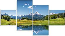 Artland Glasbild Landschaft in den Alpen 120x70 cm