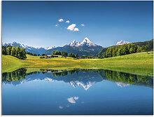 Artland Glasbild Landschaft in den Alpen 60x45 cm