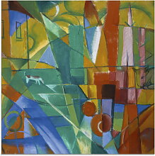 Artland Glasbild Landschaft mit Haus Hund und