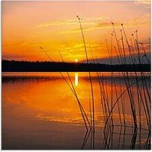 Artland Glasbild Landschaft mit Sonnenaufgang,