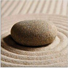 Artland Glasbild Mini Zen Garten - Sand 20x20 cm