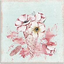 Artland Glasbild Sommer Blumen Eis Illustration