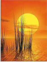 Artland Glasbild Sonnenuntergang mit Schilf,