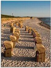 Artland Glasbild Strandkörbe Ostseeküste in