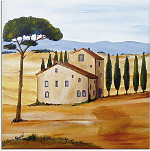 Artland Glasbild Toskana modern 1 30x30 cm, braun