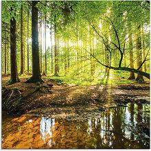 Artland Glasbild Wald mit Bach 20x20 cm grün