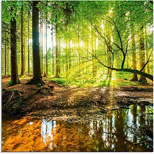 Artland Glasbild Wald mit Bach, Wald, (1 St.) B/H: