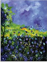 Artland Glasbild Wilde Blumen 45x60 cm, blau