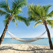 Artland Küchenrück-Wand Spritzschutz Hightech-Aluminium-Verbundplatten eyetronic Urlaub am Palmenstrand in der Karibik mit Hängematte Landschaften Amerika Karibik Fotografie Blau