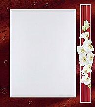 Artland Wand-Flur-Spiegel mit 25mm Facetten-Schliff Deko Modell-Rahmen digital bedruckt Motiv W. L. Orchideen - rot Botanik Blumen Orchidee Digitale Kunst Rot A6UL