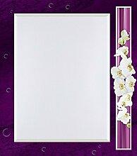 Artland Wand-Flur-Spiegel mit 25mm Facetten-Schliff Deko Modell-Rahmen digital bedruckt Motiv W. L. Orchideen - violett Botanik Blumen Orchidee Digitale Kunst Lila A6UK