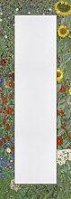 Artland Wand-Flur-Spiegel mit 25mm Facetten-Schliff Deko Modell-Rahmen digital bedruckt Motiv Gustav Klimt Garten mit Sonnenblumen Botanik Blumenwiese Malerei Grün 140,4 x 50,4 x 1,6 cm B5KY