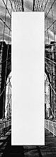 Artland Wand-Flur-Spiegel mit 25mm Facetten-Schliff Deko Modell-Rahmen digital bedruckt Motiv Peter Knif Brooklyn Bridge - schwarz/weiss Architektur Brücken Foto Schwarz/Weiß 140,4x50,4x1,6 cm A7QD