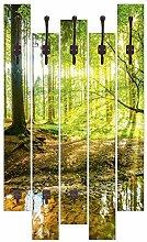 Artland Wand-Garderobe 5 Holz-Paneele mit gusseisernen Haken Günter Albers Wald mit Bach Landschaften Wald Fotografie Braun