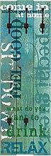 Artland Wand-Garderobe mit Motiv 3 Holz-Paneele mit gusseisernen Haken W. L. Herein Statement Bilder Sprüche & Texte Graphische Kunst Türkis 140 x 45 x 2,8 cm