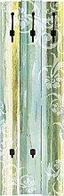 Artland Wand-Garderobe mit Motiv 3 Holz-Paneele mit gusseisernen Haken W. L. Blumenornamente im modernen Stil Botanik Blumen Digitale Kunst Türkis 140 x 45 x 2,8 cm A6CF