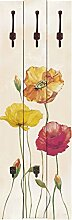 Artland Wand-Garderobe mit Motiv 3 Holz-Paneele mit gusseisernen Haken Jule Bunte Mohnblumen Botanik Blumen Mohnblume Malerei Creme 140 x 45 x 2,8 cm