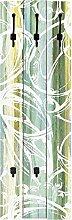 Artland Wand-Garderobe mit Motiv 3 Holz-Paneele mit gusseisernen Haken W. L. Ornamente im modernen Stil Abstrakte Motive Muster Digitale Kunst Türkis 140 x 45 x 2,8 cm A6CE