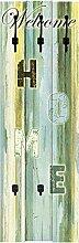Artland Wand-Garderobe mit Motiv 3 Holz-Paneele mit gusseisernen Haken W. L. Willkommen zuhause Statement Bilder Sprüche & Texte Graphische Kunst Türkis 140 x 45 x 2,8 cm A6BY