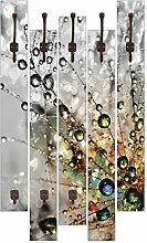 Artland Wand-Garderobe mit Motiv 5 Holz-Paneele mit Haken agika7 Farbenfrohe Natur Botanik Blumen Pusteblume Fotografie Bunt 114 x 68 x 2,8 cm