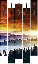 Artland Wand-Garderobe mit Motiv 5 Holz-Paneele mit Haken Creative Travel Projects Majestätischer Sonnenuntergang, bewölktem Himmel vom Sturm Landschaften Sonnenaufgang Foto Orange 114 x 68 x 2,8 cm