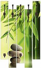 Artland Wand-Garderobe mit Motiv 5 Holz-Paneele mit Haken fotohunter Spa Stillleben Wellness Zen Stein Fotografie Grün 114 x 68 x 2,8 cm