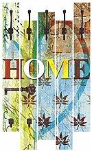 Artland Wand-Garderobe mit Motiv 5 Holz-Paneele mit Haken Jule Buntes Zuhause Statement Bilder Sprüche & Texte Digitale Kunst Bunt 114 x 68 x 2,8 cm