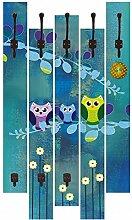 Artland Wand-Garderobe mit Motiv 5 Holz-Paneele mit Haken Jule Nachteule im Mondschein Tiere Vögel Eule Digitale Kunst Blau 114 x 68 x 2,8 cm