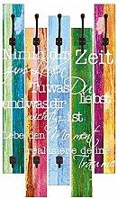 Artland Wand-Garderobe mit Motiv 5 Holz-Paneele mit Haken Jule Nimm dir Zeit Statement Bilder Sprüche & Texte Bunt 114 x 68 x 2,8 cm
