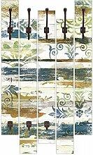 Artland Wand-Garderobe mit Motiv 5 Holz-Paneele mit Haken Jule Retro Verzierungen in blau und orange Abstrakte Motive Blau 114 x 68 x 2,8 cm