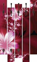 Artland Wand-Garderobe mit Motiv 5 Holz-Paneele mit Haken L. Lauzuma Girlande aus Blumen Botanik Blumen Blüte Digitale Kunst Ro