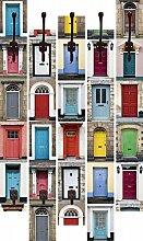 Artland Wand-Garderobe mit Motiv 5 Holz-Paneele mit Haken RTimages Fotocollage von 32 bunten Haustüren Architektur Fenster & Türen Sehenswürdigkeiten Digitale Kunst Bunt 114 x 68 x 2,8 cm