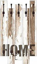 Artland Wand-Garderobe mit Motiv 5 Holz-Paneele mit Haken W. L. Home Statement Bilder Sprüche & Texte Graphische Kunst Creme 114 x 68 x 2,8 cm