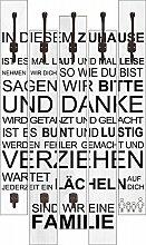 Artland Wand-Garderobe mit Motiv 5 Holz-Paneele mit Haken W. L. In diesem Zuhause_weiß Statement Bilder Sprüche & Texte Graphische Kunst Weiß 114 x 68 x 2,8 cm