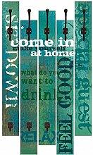 Artland Wand-Garderobe mit Motiv 5 Holz-Paneele mit Haken W. L. Herein Statement Bilder Sprüche & Texte Graphische Kunst Türkis 114 x 68 x 2,8 cm