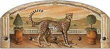 Artland Wand-Garderobe mit Motiv in Form eines Halbbogens Metallhaken Holz-Platte Michael Francis Geparden unterm Bogen Tiere Wildtiere Raubkatze Malerei Natur 35 x 80 x 2,8 cm