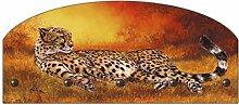 Artland Wand-Garderobe mit Motiv in Form eines Halbbogens Metallhaken Holz-Platte A. Heins Gepard liegend Tiere Wildtiere Raubkatze Malerei Orange 35 x 80 x 2,8 cm A1AK