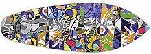 Artland Wand-Garderobe mit Motiv in Form eines Surfbrettes Metallhaken Holz-Platte Jule Graffiti Abstrakte Motive Muster Graffiti Bunt 40 x 120 x 2,8 cm