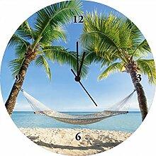 Artland Wand-Uhr Digital-Druck auf Echt Glas mit Motiv eyetronic Urlaub am Palmenstrand in der Karibik mit Hängematte Landschaften Amerika Karibik Fotografie Blau 35 x 35 x 1,8 cm