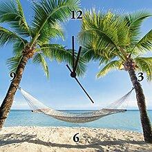 Artland Wand-Uhr Digital-Druck Leinwand auf Holz-Rahmen gespannt mit Motiv eyetronic Urlaub am Palmenstrand in der Karibik mit Hängematte Landschaften Amerika Karibik Fotografie Blau 30 x 30 x 2,8 cm