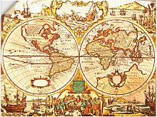 Artland Wandbild Antike Weltkarte 40x30 cm,