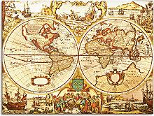 Artland Wandbild Antike Weltkarte 80x60 cm,