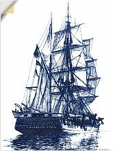 Artland Wandbild Antikes Schiff in blau I 30x40