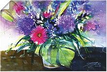 Artland Wandbild Blumenstrauß mit Palmenblatt,
